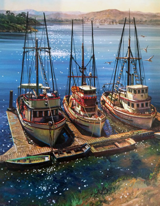 Fishing Boats At Morrow Bay, California  30x25 by Fil Mottola