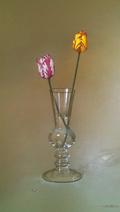 2 Tulips in a Glass 2000 42x30