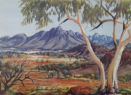 Untitled (Alice Springs) Watercolor 1950 23x19 by Albert Namatjira