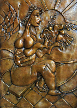 Let There Be Peace Bas Relief Bronze Sculpture 2008