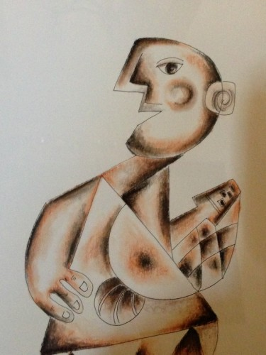 Man with Guitar Drawing 2004 11x8