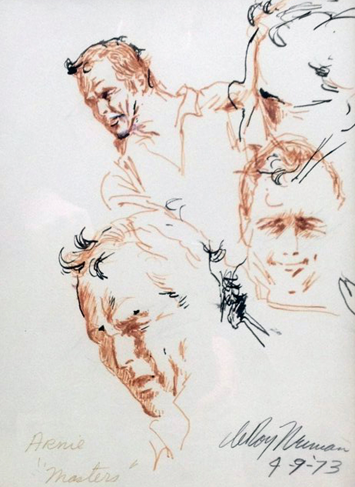Arnie at the 1973 Masters Drawing 23x19