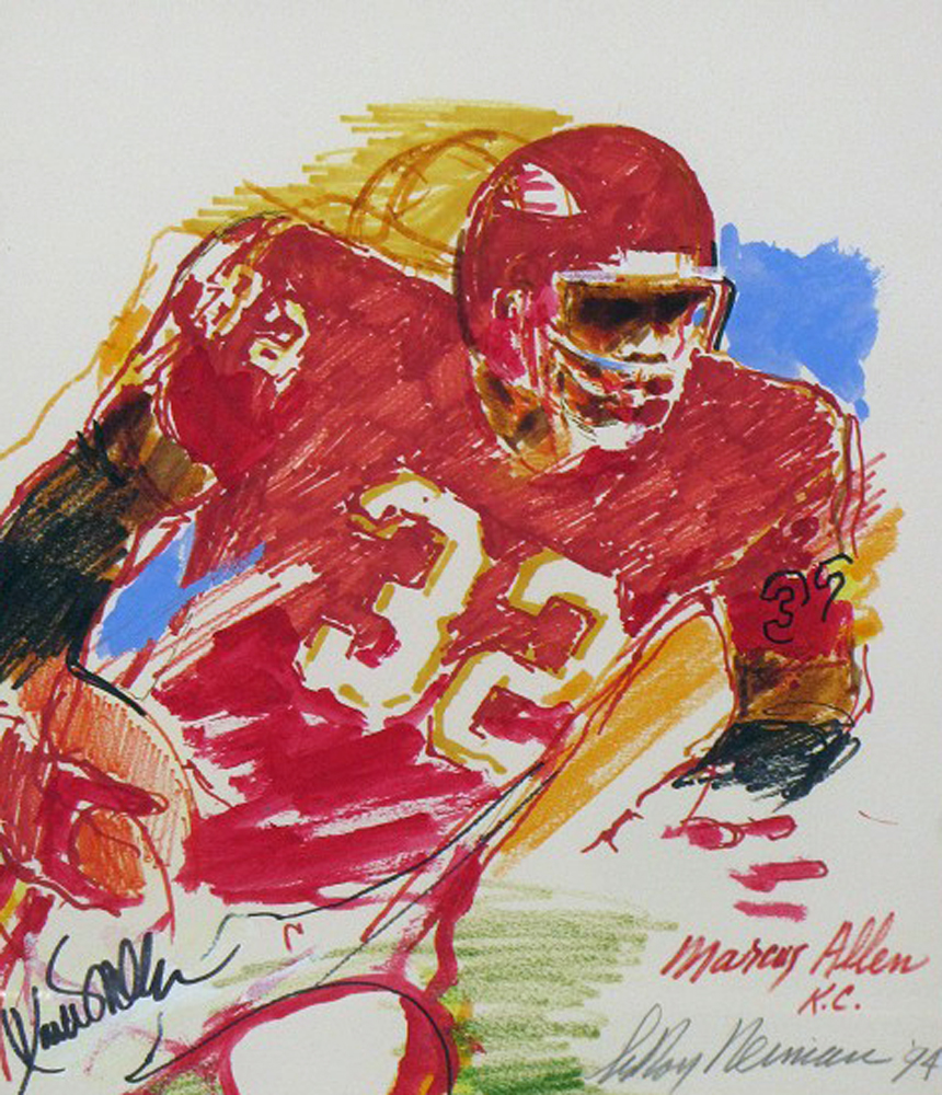 Marcus Allen, Football Watercolor 1994 22x19