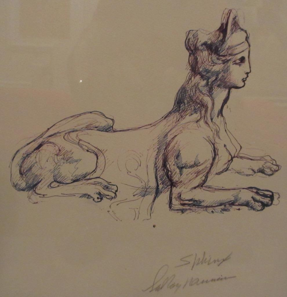 Portrait Study of Sphinx Drawing 1970