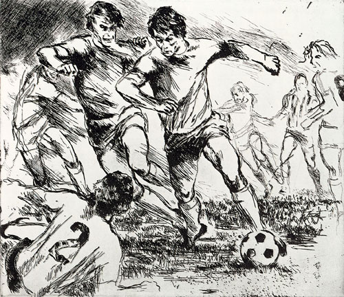 From the Eaux Fortes etching suite: Soccer Players 1980