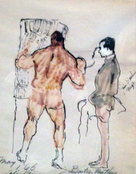 Buster Mathis, Gramercy Park Watercolor 1966 33x27