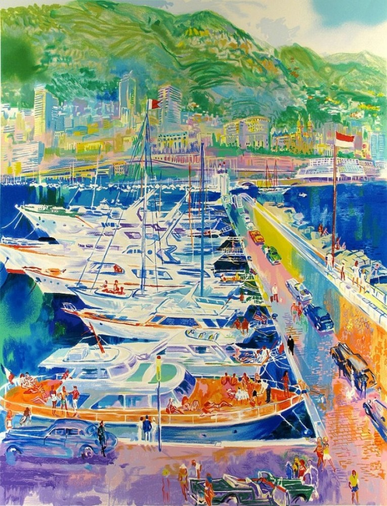 Harbor At Monaco (From the Monte Carlo Suite) 1988 by LeRoy Neiman