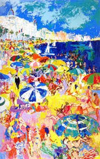 Beach At Cannes  AP 1979 by LeRoy Neiman