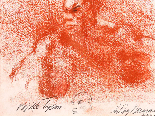 Lennox Lewis/Mike Tyson Double Pastel 2002 30x39 by LeRoy Neiman