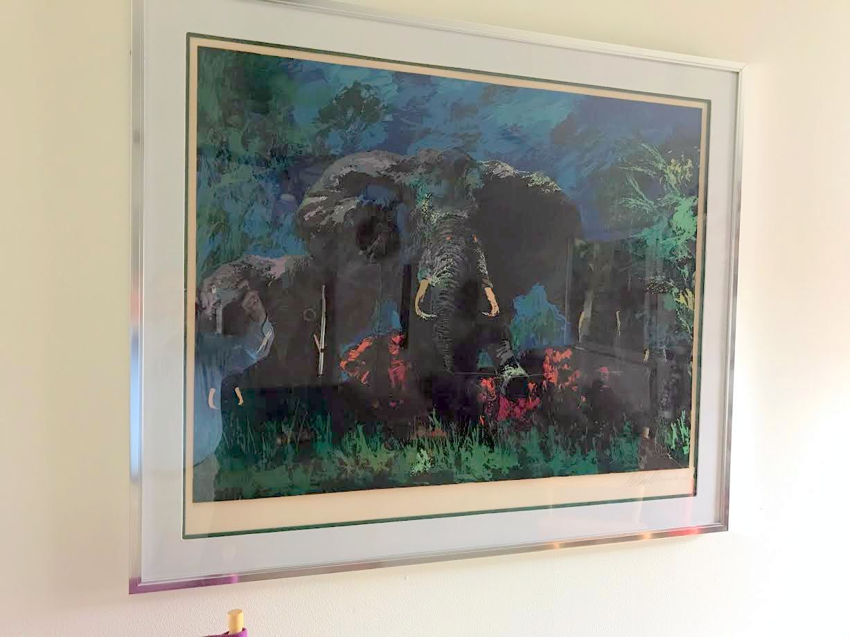 Elephant Stampede AP 1976 by LeRoy Neiman