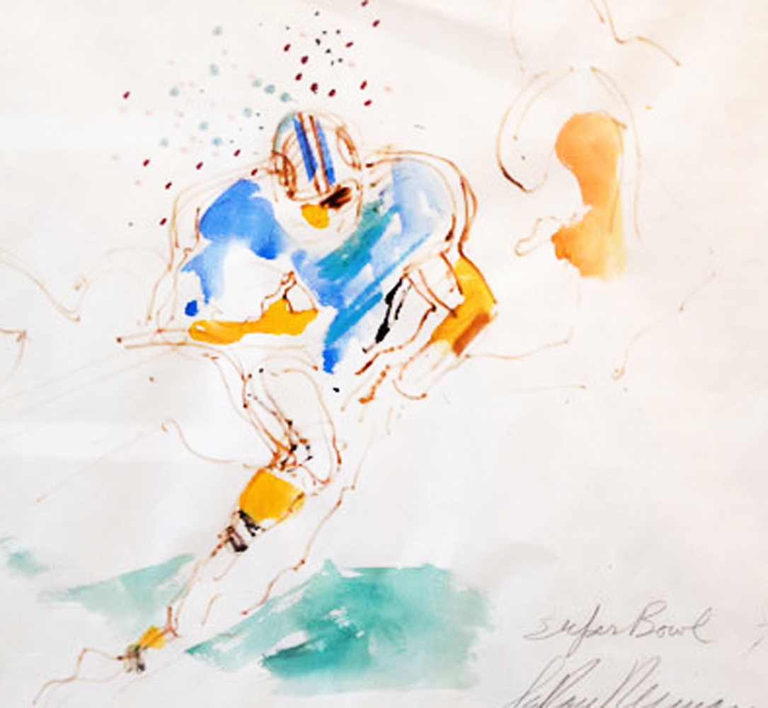 Super Bowl 1973 Larry Csonka Watercolor   29x32