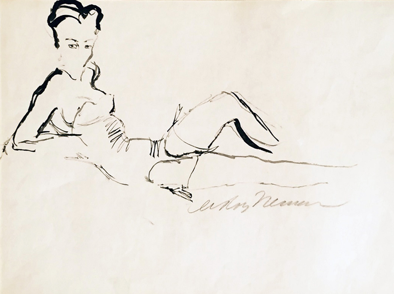 Reclining Woman Drawing 1959 26x30