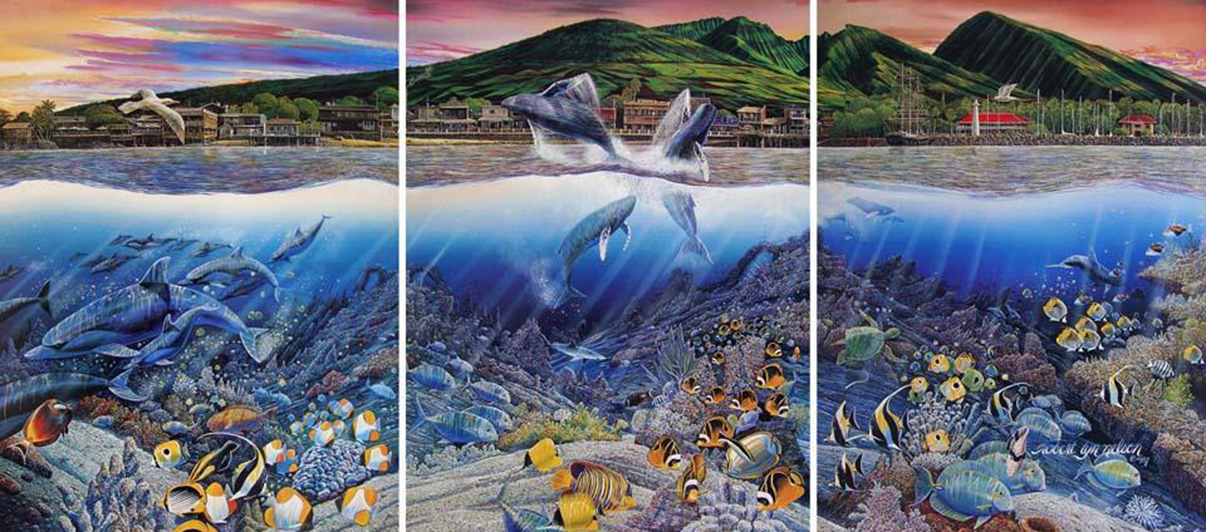 Lahaina Rhythm Land And Sea Triptych 1987 by Robert Lyn Nelson