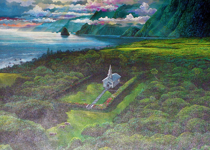 Light, Earth, and Water of Kaluaupapa, Hawaii 1987 36x48