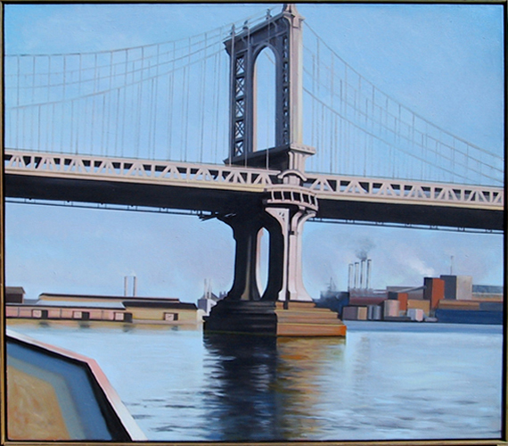 Manhattan Bridge 1980 48x54 by Lowell Blair Nesbitt
