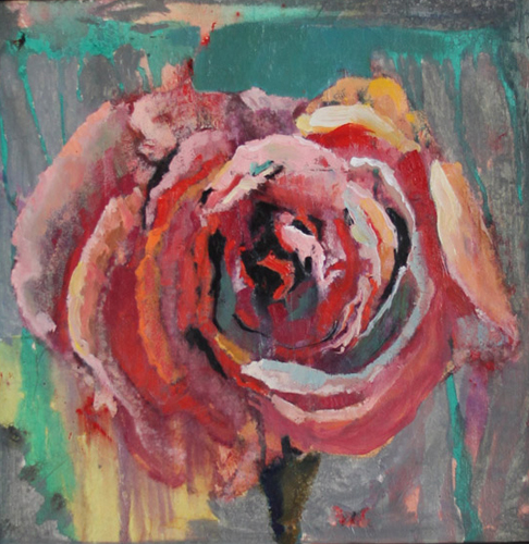 Grey Handkerchief Pink Rose (from The Small Ode Series) 1988 28x28