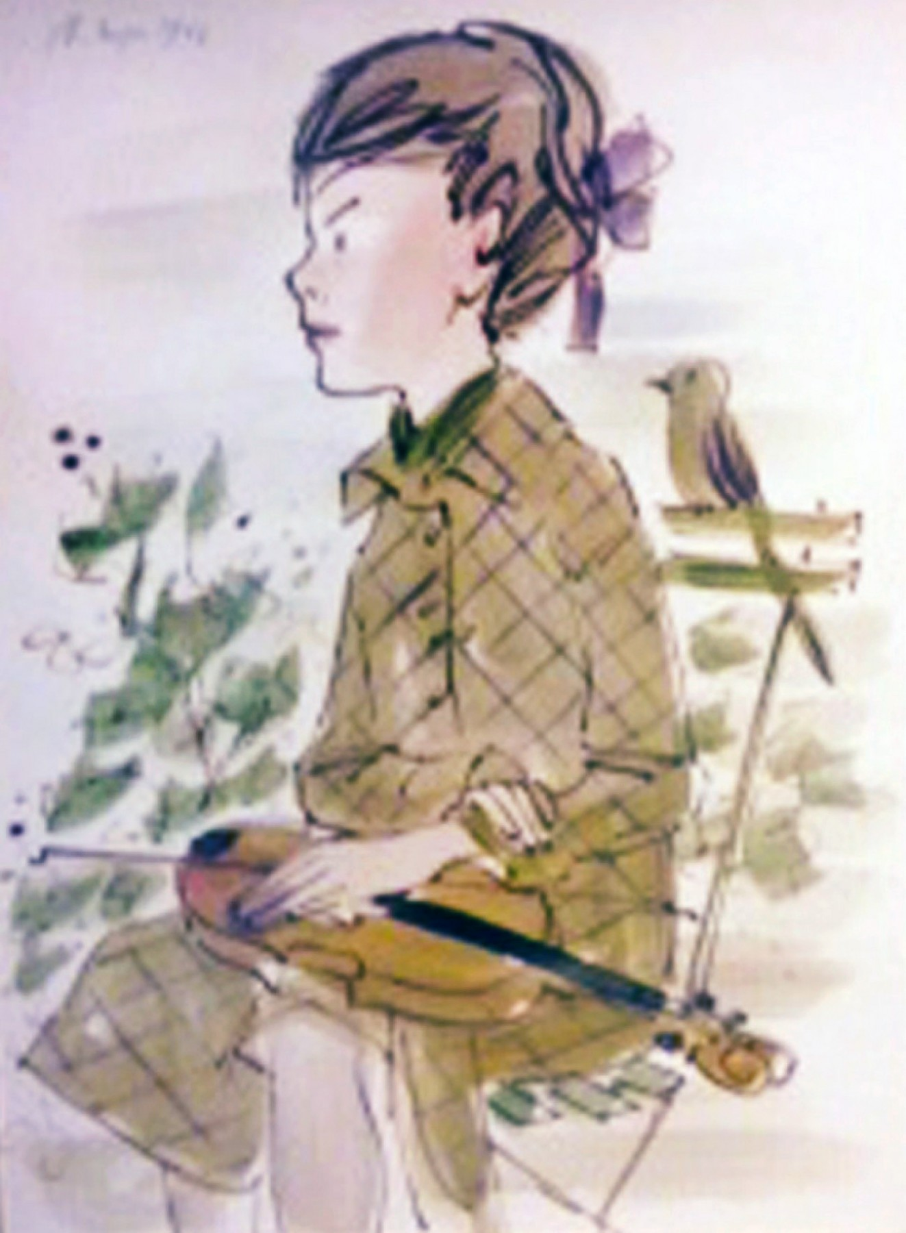 Girl Sitting With Violin on Her Lap Watercolor 1966 33x26