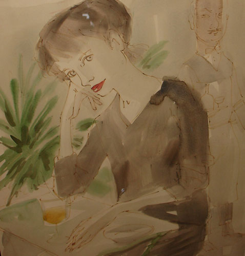 Woman at the Cafe Watercolor 1959 26x20