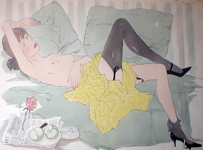 Girl Reclining Watercolor 1972 37x45