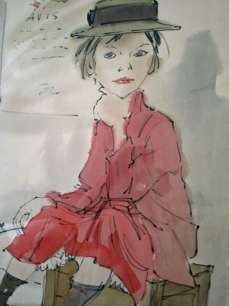 Girl Seated on Box Holding a Rose Watercolor  1969 28x35