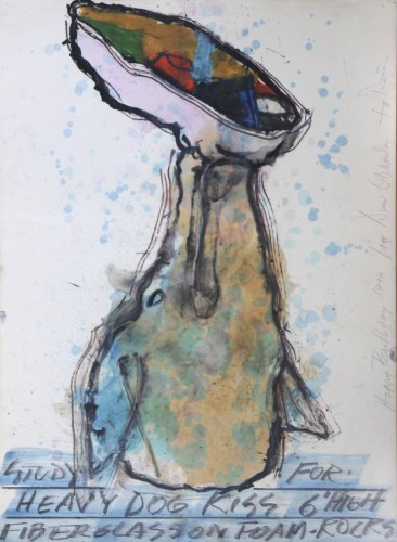 Study For Heavy Dog Kiss 1994 41x31