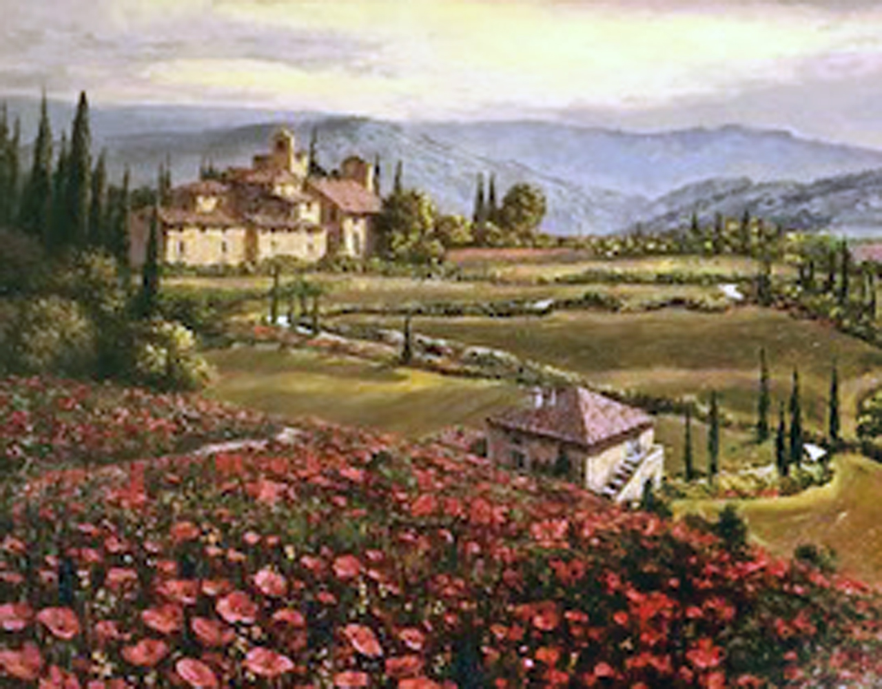 Tuscany Suite Sunflowers, And Poppies in Tuscany, Suite of 2 Embellished by Sam Park