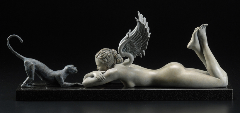 See No Evil Bronze Sculpture  2011 by Michael Parkes