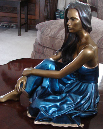 Serene Bronze Sculpture 2002 13 in