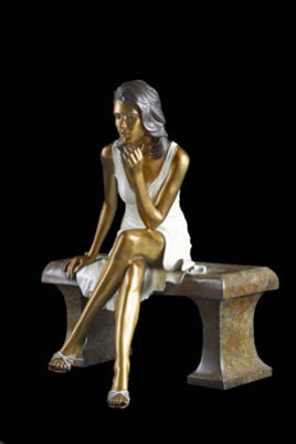Sitting Pretty Bronze Sculpture 1990 20 in