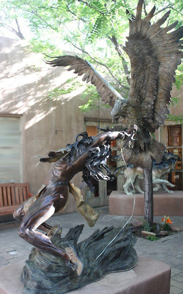 Eagle Catcher Bronze Life Size Sculpture 1996 82 in
