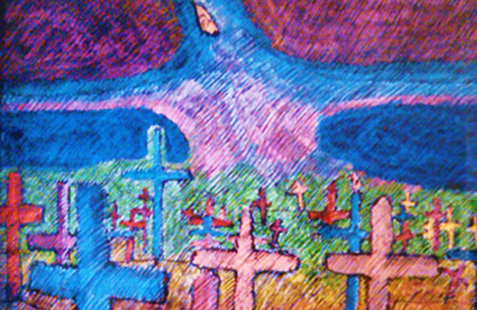 Graveyard and Spirit of Renewal Pastel 29x44