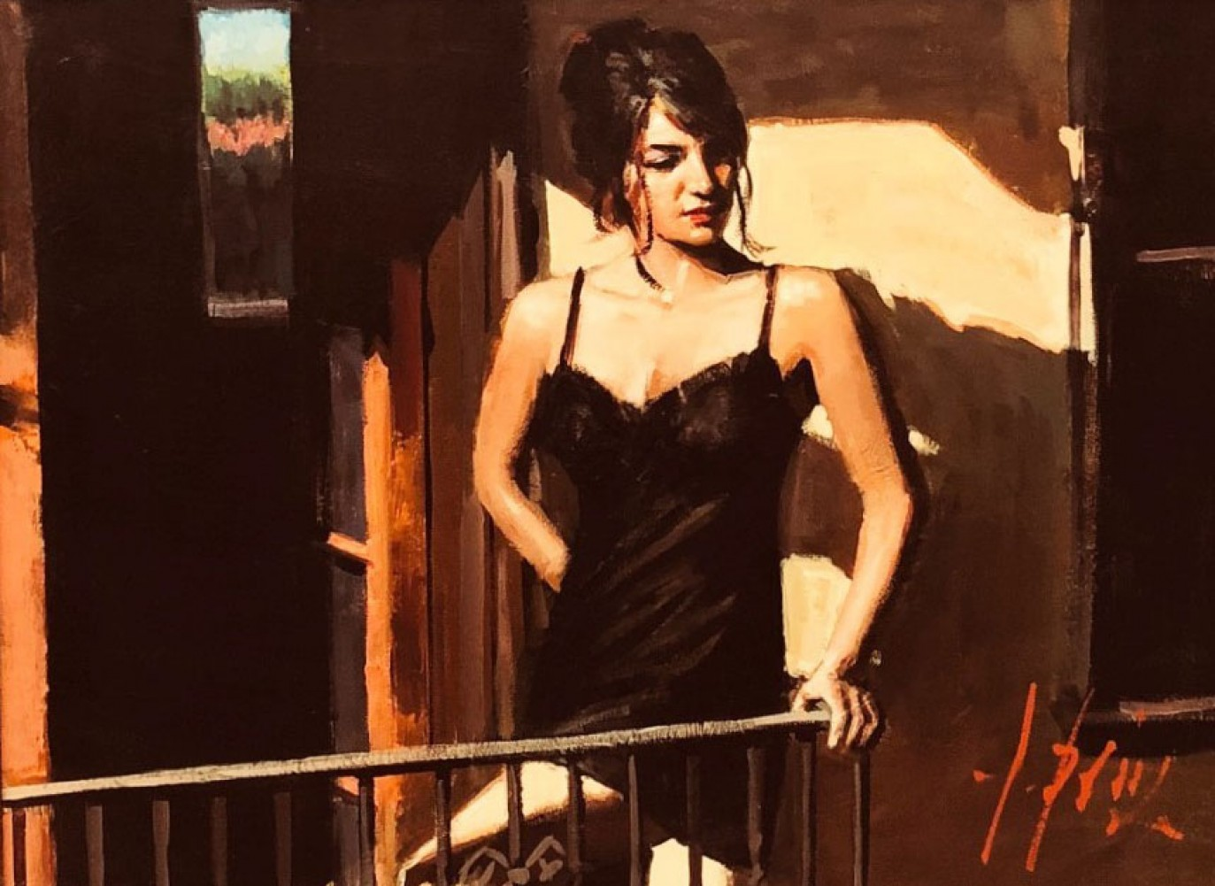 Saba At Balcony in Black Dress 31x37