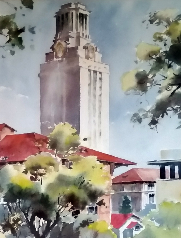 University of Texas Clock Tower Watercolor  31x26