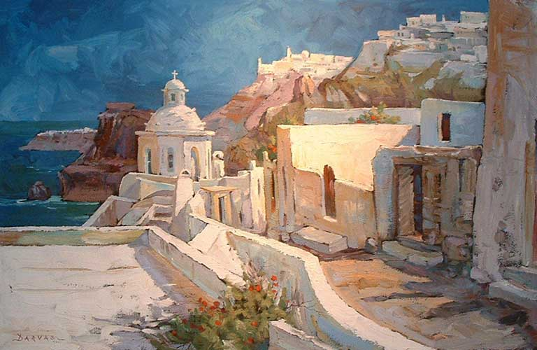 Path to Thira, Santorini 2006 30x48