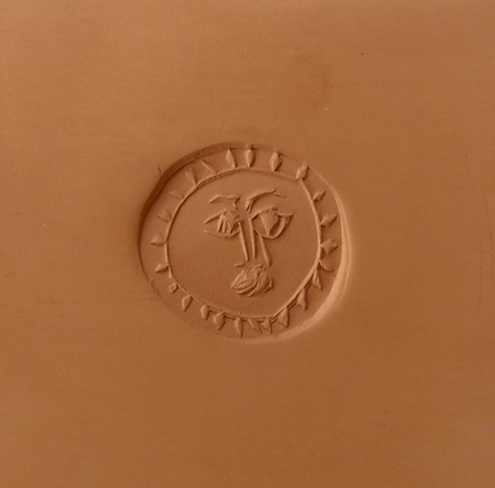 Circle With Face Earthenware Tile 1971 5x5
