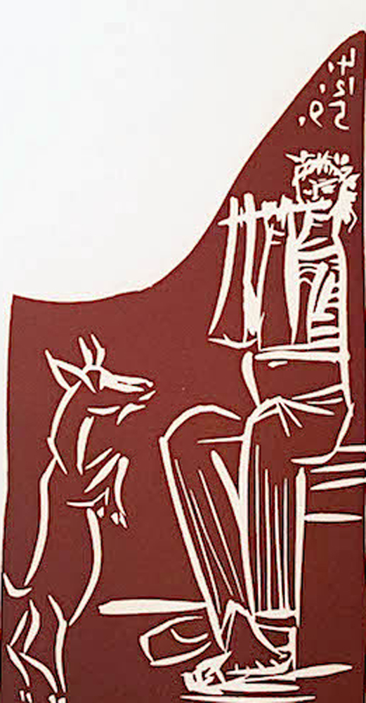 Flutiste And Performing Goat Linocut  AP 1959