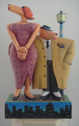 Gum Shoe and the Dame Wood Sculpture 1989