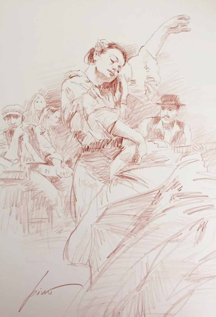 Flamenco in Red Drawing 16x20, With Matching Giclee