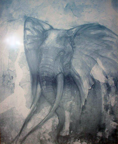 Elephant Watercolor 30x24