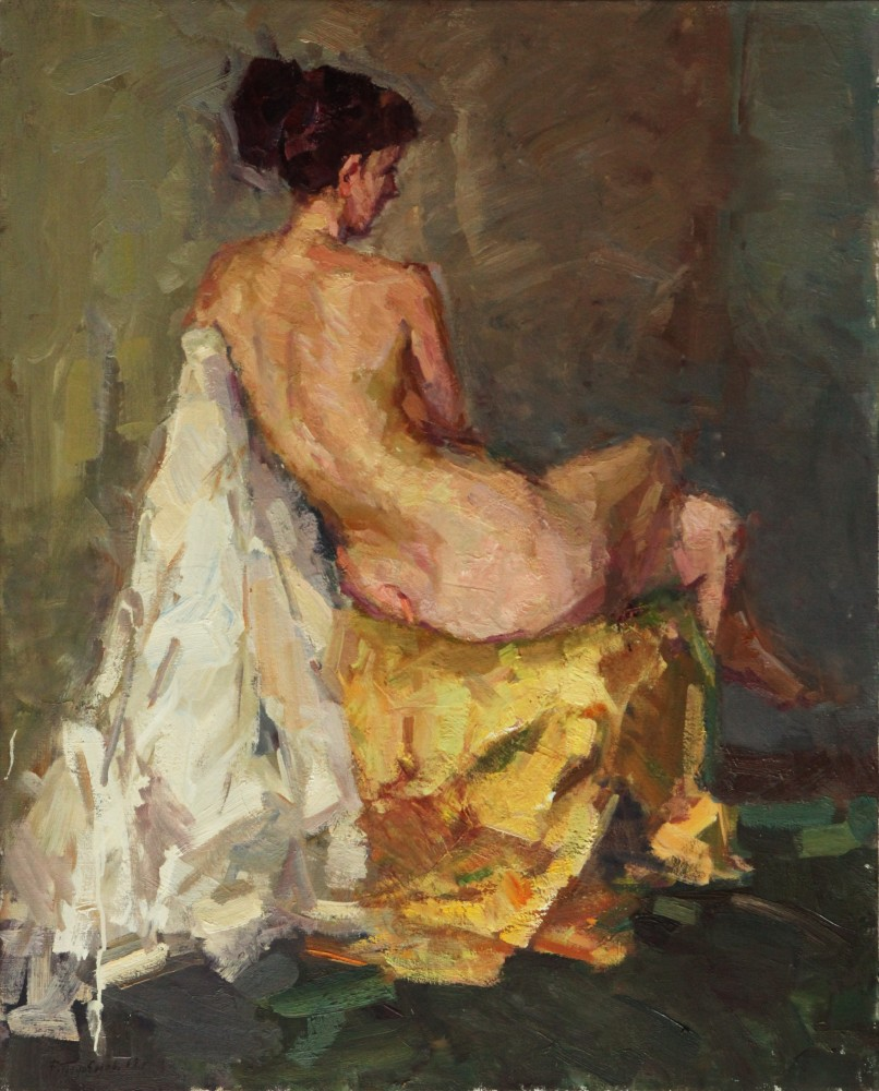 Sitting Nude From the Back 39x31