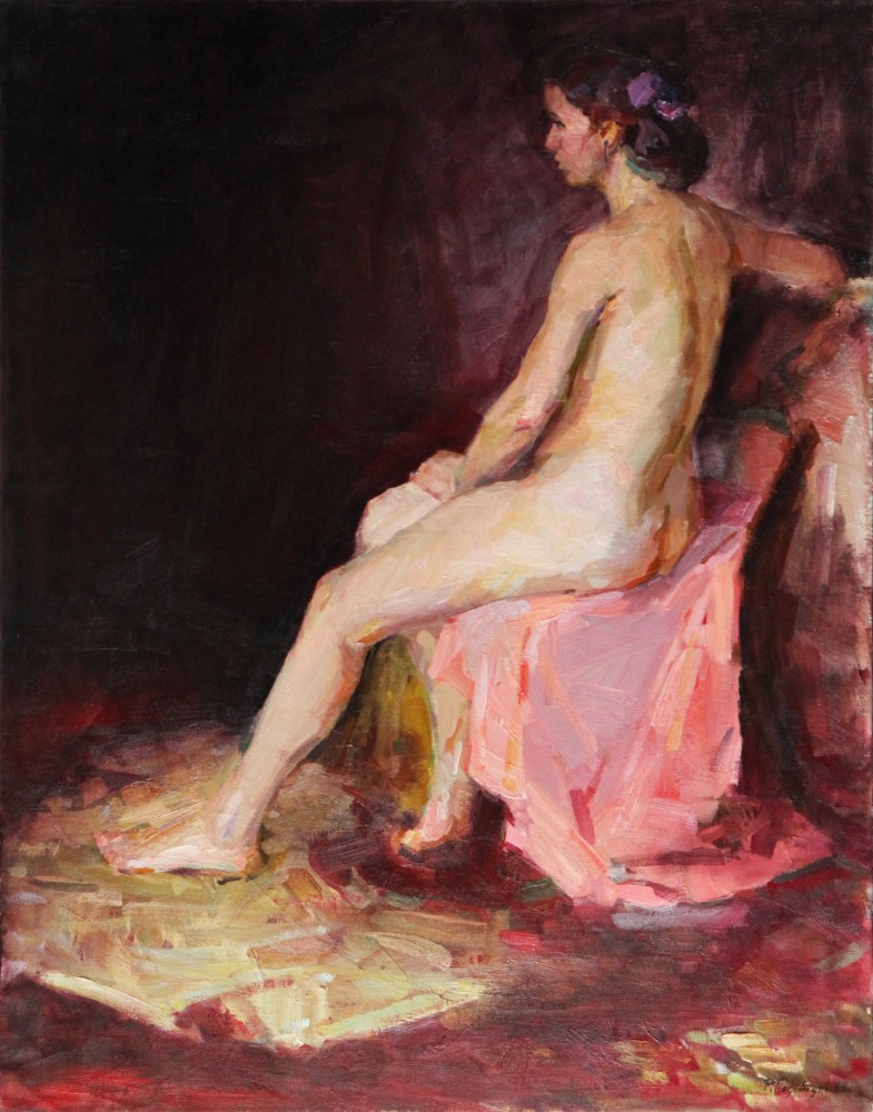 Sitting Nude in Pink 1960 43x34