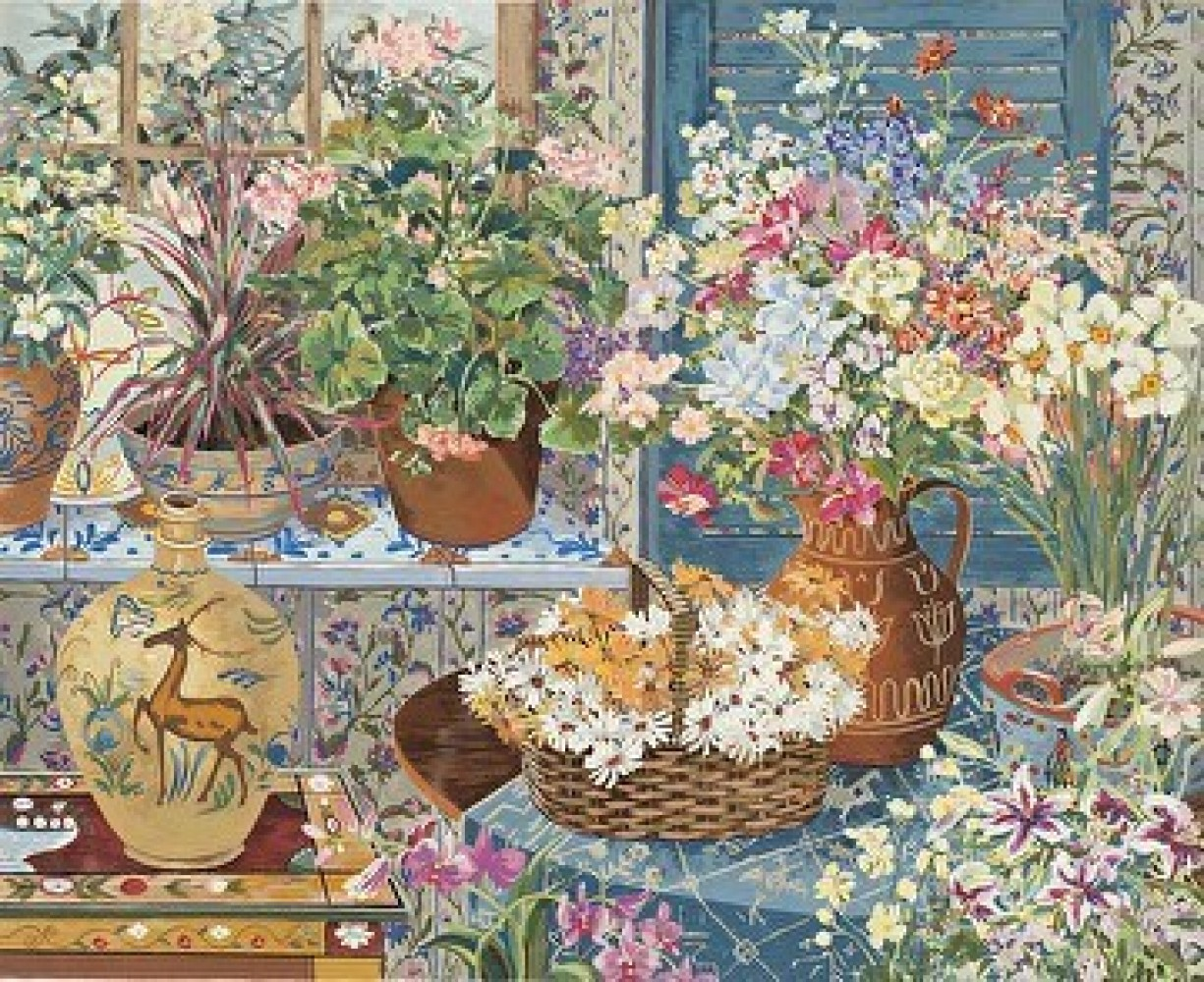 Spanish Tile and Geraniums 1984