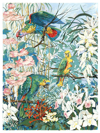 Parrots and Hibiscus