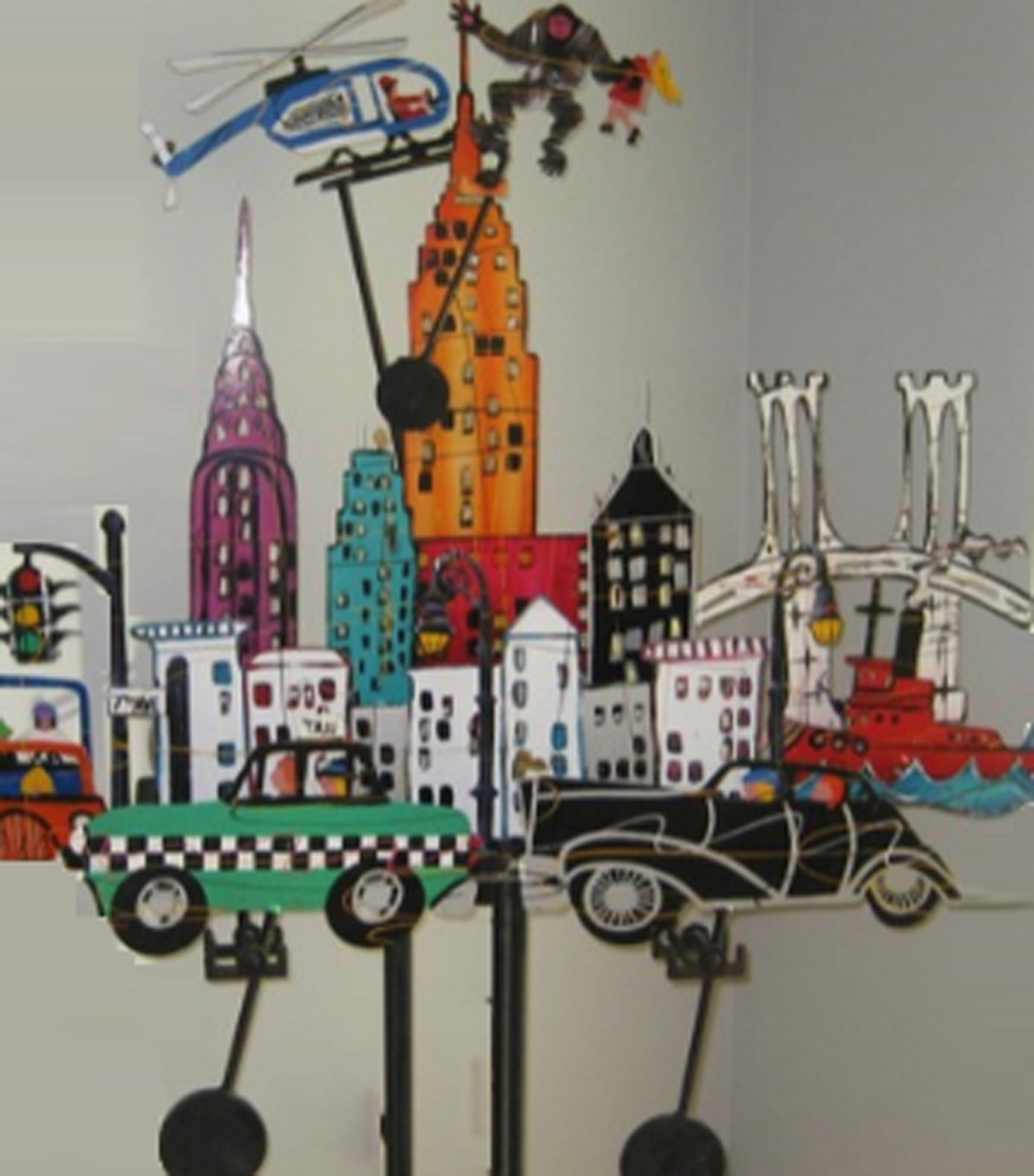 New York New York Metal Kinetic Sculpture 1990 74 in