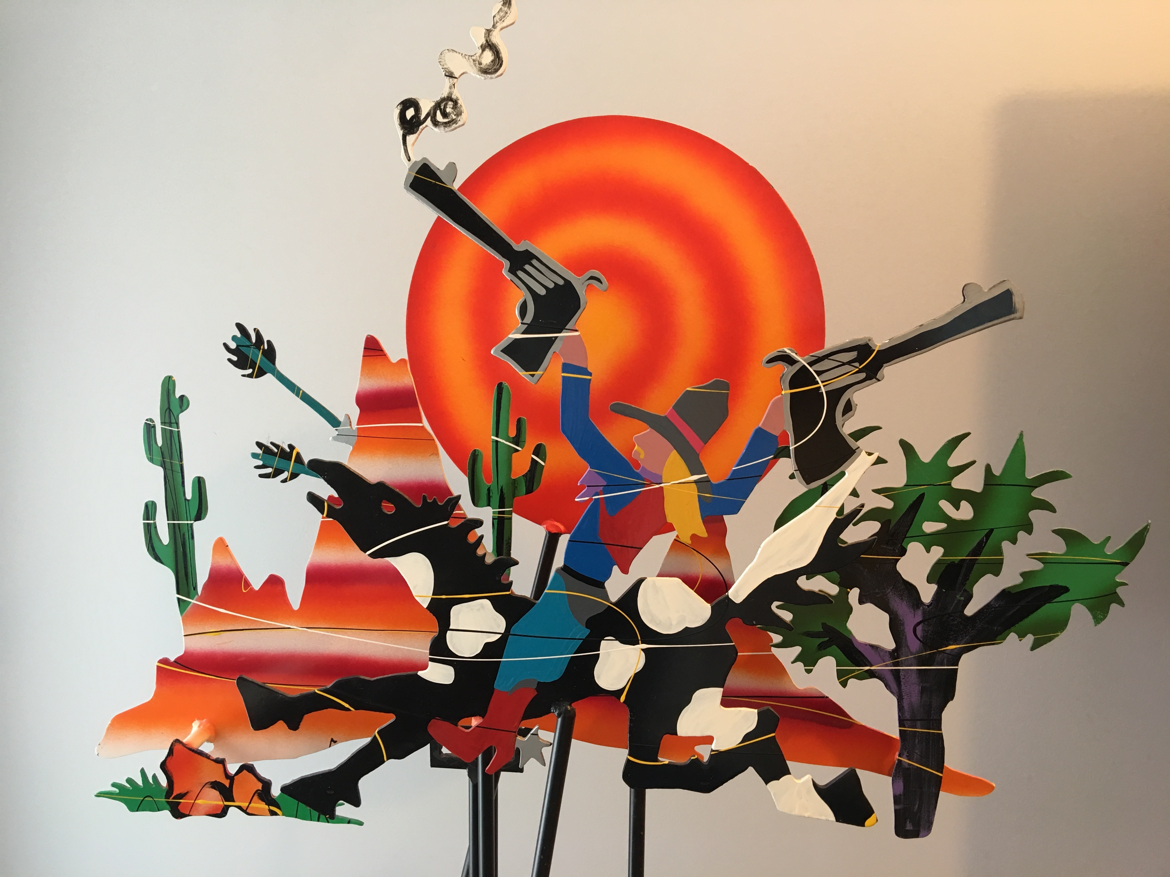 Rootin' Tootin Cowboy Kinetic Sculpture 1990 63x44
