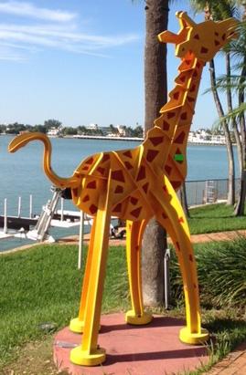 Kinetic Giraffe Medium Size Steel Sculpture by Frederick Prescott