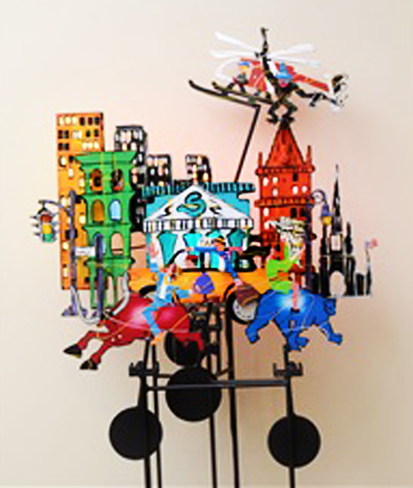 Wall Street Kinetic Steel Sculpture 1990 72x49 in