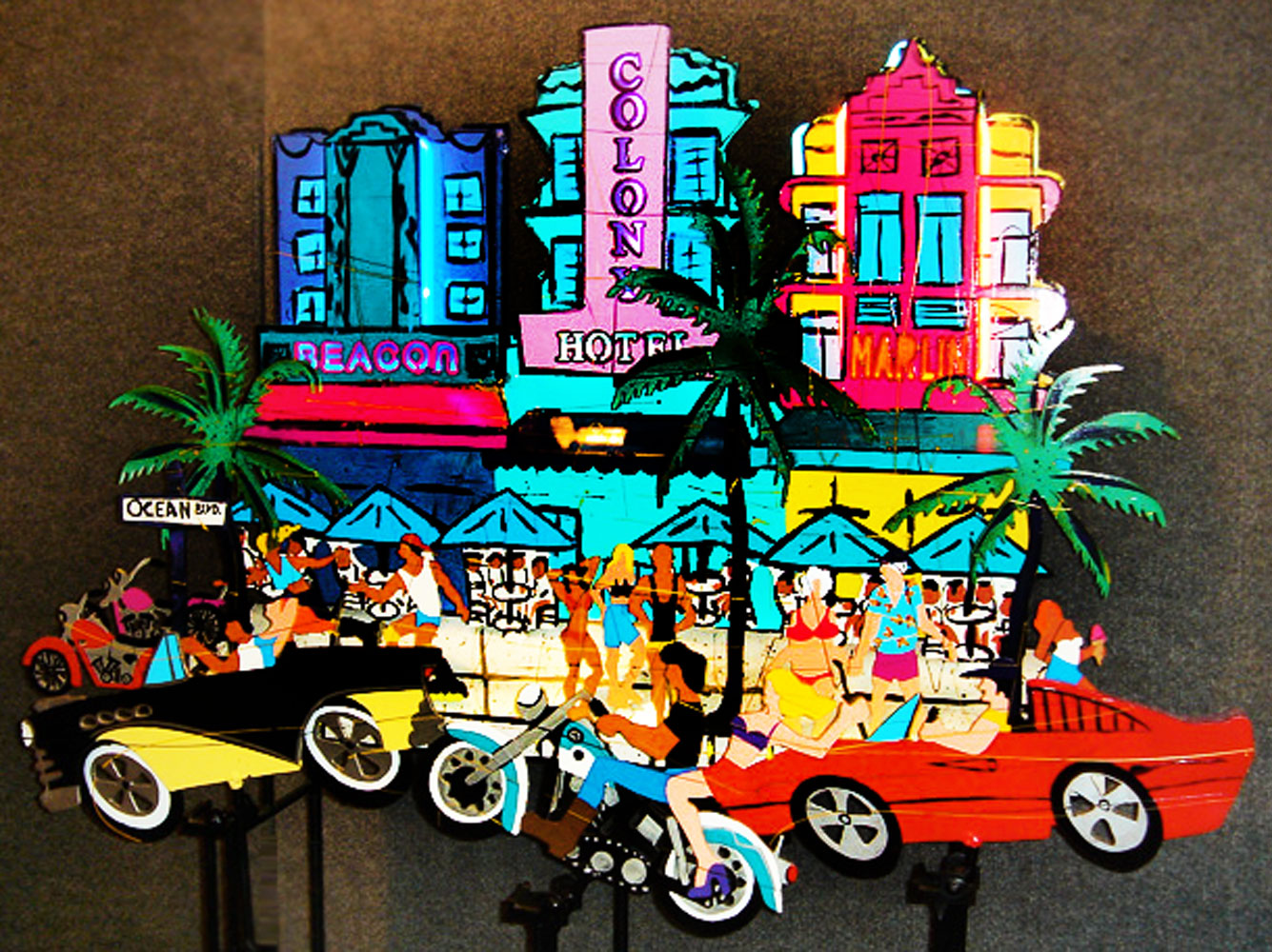 South Beach Kool Neon Unique Kinetic Sculpture 1997 42x40x12