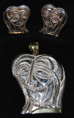 Lovers Sterling Silver Earrings and Pendant
