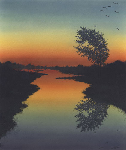 Silent Waters Watercolor 1990 24x20